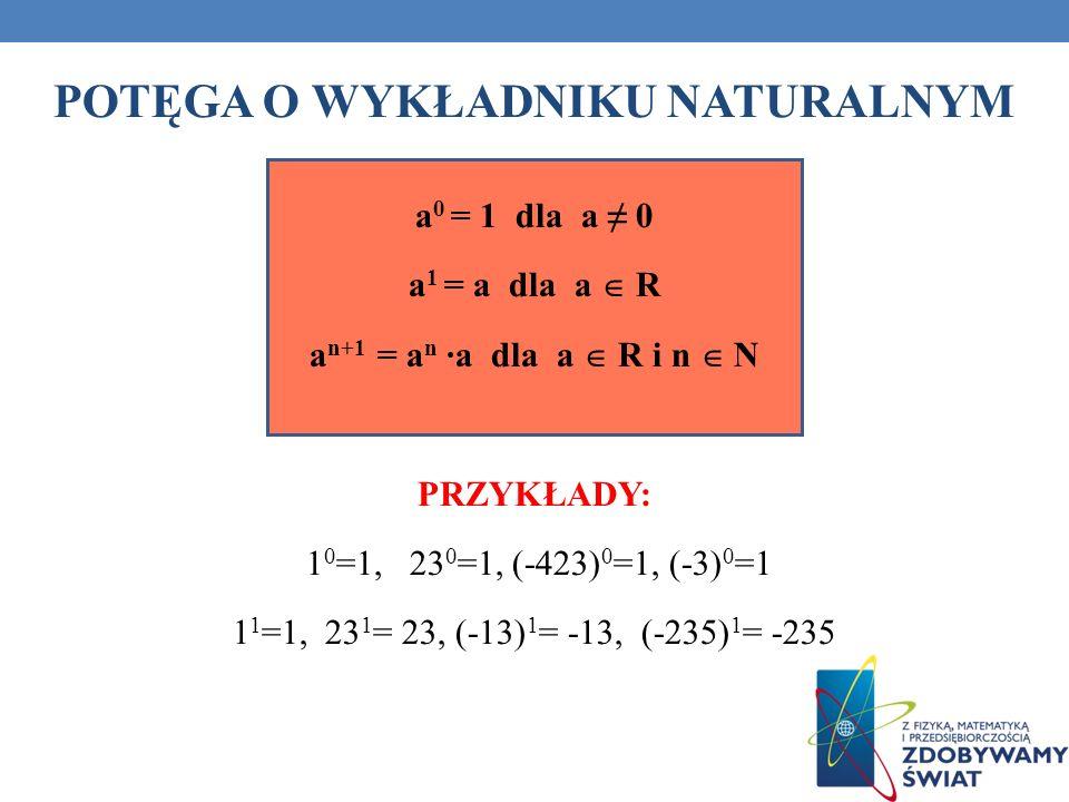 POTĘGA O WYKŁADNIKU NATURALNYM a 0 = 1 dla a 0 a 1 = a dla a R a n+1 = a n a dla a R i n N PRZYKŁADY: 1 0 =1, 23 0 =1, (-423) 0 =1, (-3) 0 =1 1 1 =1,