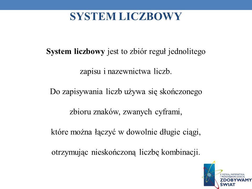 SYSTEM LICZBOWY System liczbowy jest to zbiór reguł jednolitego zapisu i nazewnictwa liczb. Do zapisywania liczb używa się skończonego zbioru znaków,