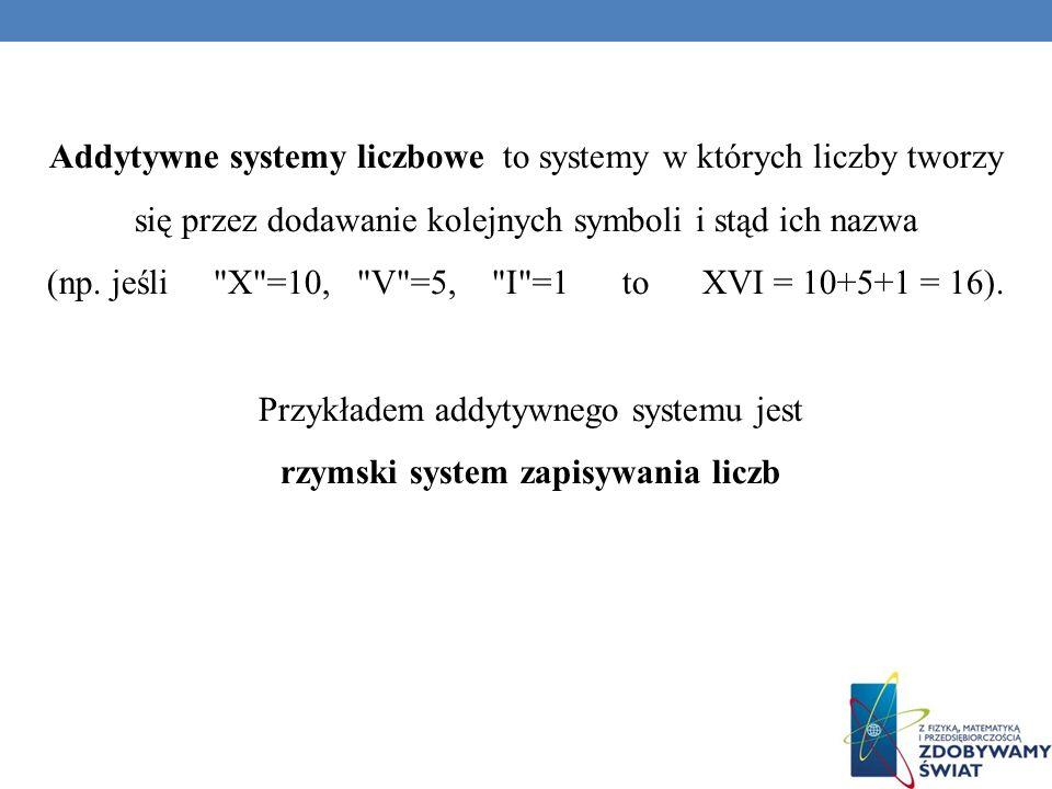 Addytywne systemy liczbowe to systemy w których liczby tworzy się przez dodawanie kolejnych symboli i stąd ich nazwa (np. jeśli
