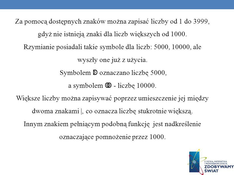 Za pomocą dostępnych znaków można zapisać liczby od 1 do 3999, gdyż nie istnieją znaki dla liczb większych od 1000. Rzymianie posiadali takie symbole