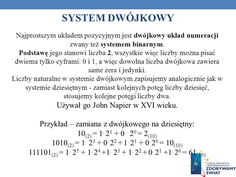 SYSTEM DWÓJKOWY Najprostszym układem pozycyjnym jest dwójkowy układ numeracji zwany też systemem binarnym. Podstawę jego stanowi liczba 2, wszystkie w