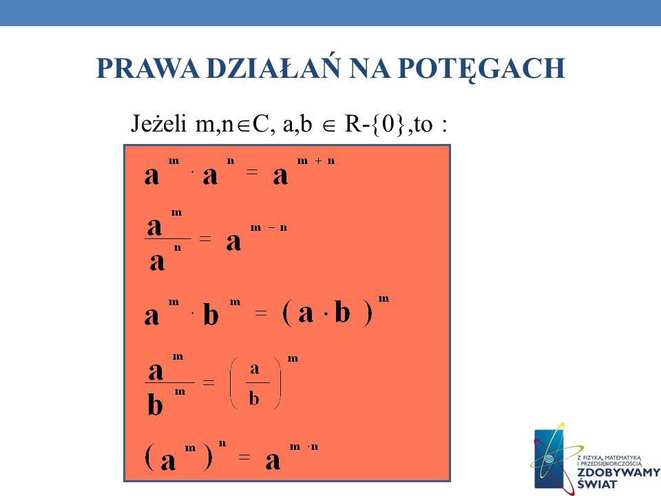 PRAWA DZIAŁAŃ NA POTĘGACH Jeżeli m,n C, a,b R- 0},to :