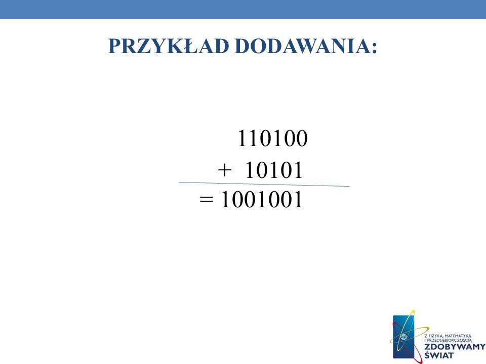 PRZYKŁAD DODAWANIA: 110100 + 10101 = 1001001