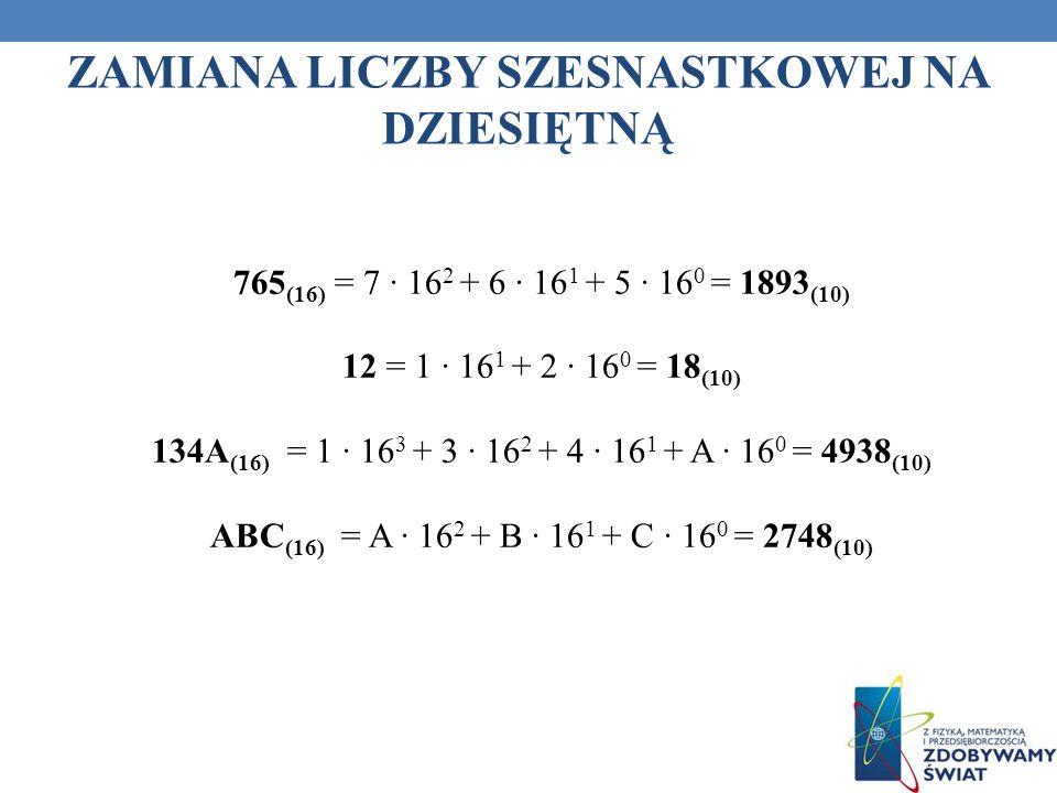 ZAMIANA LICZBY SZESNASTKOWEJ NA DZIESIĘTNĄ 765 (16) = 7 16 2 + 6 16 1 + 5 16 0 = 1893 (10) 12 = 1 16 1 + 2 16 0 = 18 (10) 134A (16) = 1 16 3 + 3 16 2