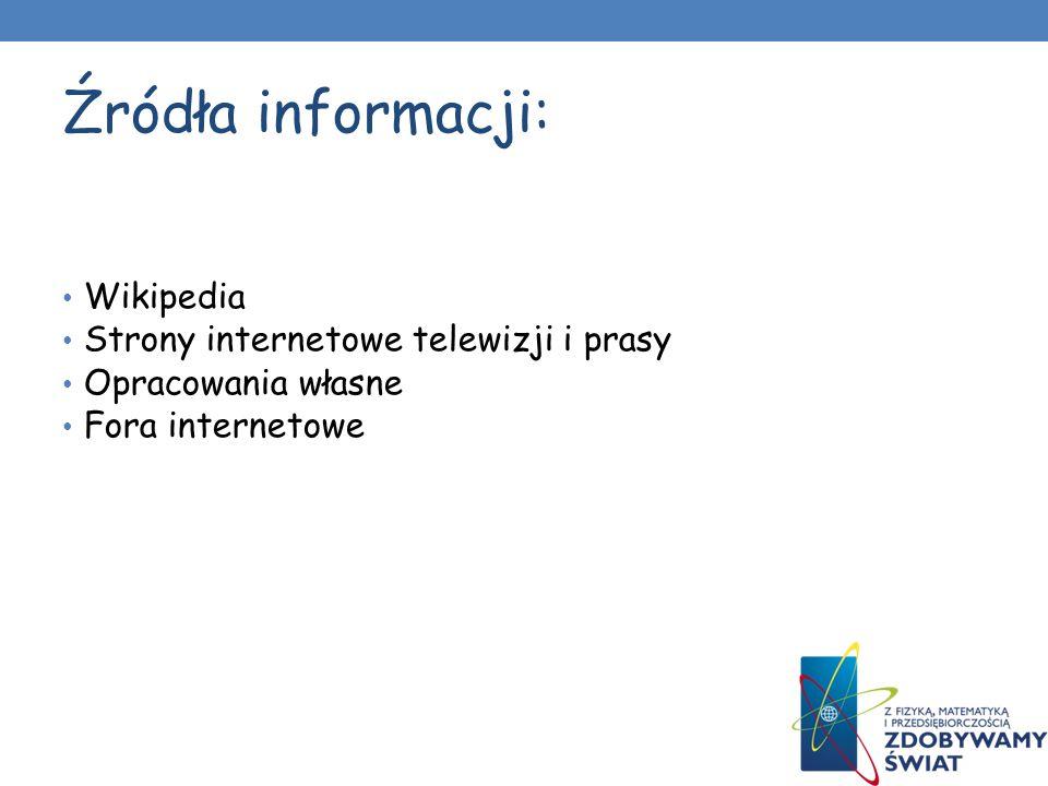Źródła informacji: Wikipedia Strony internetowe telewizji i prasy Opracowania własne Fora internetowe