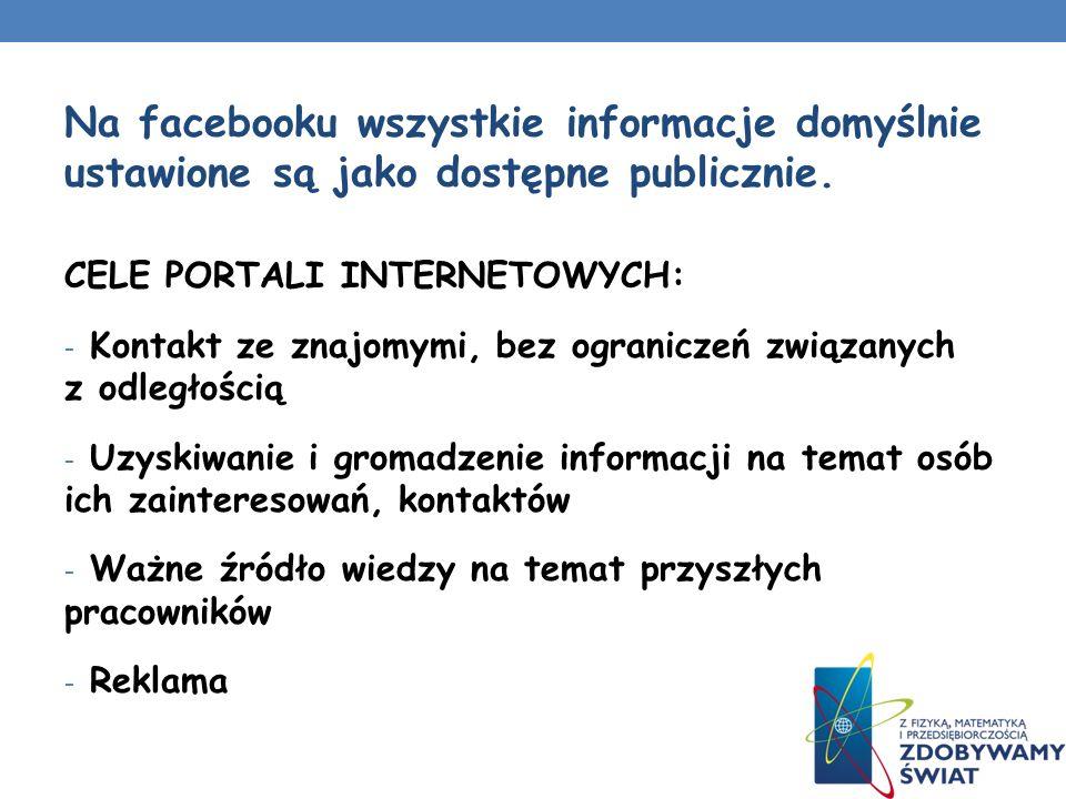 Na facebooku wszystkie informacje domyślnie ustawione są jako dostępne publicznie.