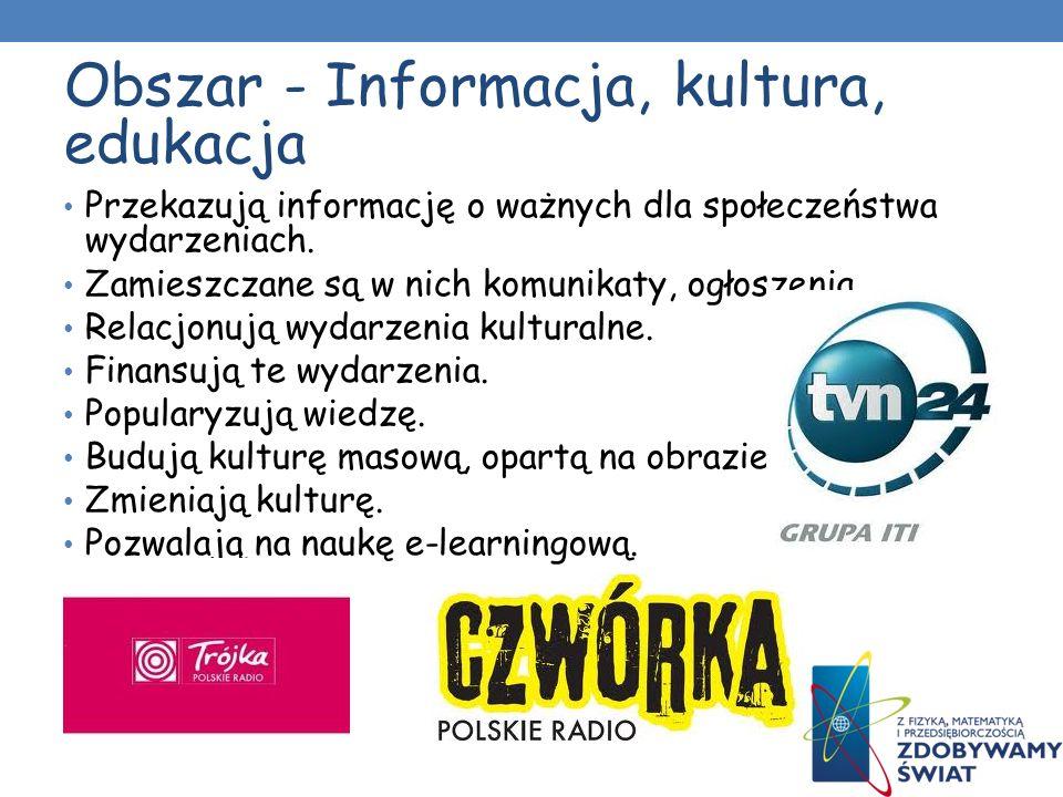 Obszar - Informacja, kultura, edukacja Przekazują informację o ważnych dla społeczeństwa wydarzeniach.