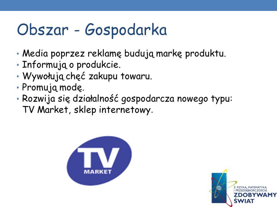 Obszar - Gospodarka Media poprzez reklamę budują markę produktu.