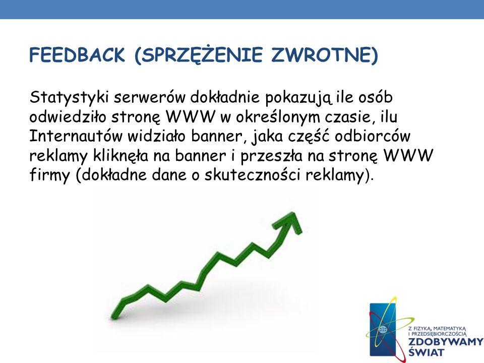 FEEDBACK (SPRZĘŻENIE ZWROTNE) Statystyki serwerów dokładnie pokazują ile osób odwiedziło stronę WWW w określonym czasie, ilu Internautów widziało banner, jaka część odbiorców reklamy kliknęła na banner i przeszła na stronę WWW firmy (dokładne dane o skuteczności reklamy ).