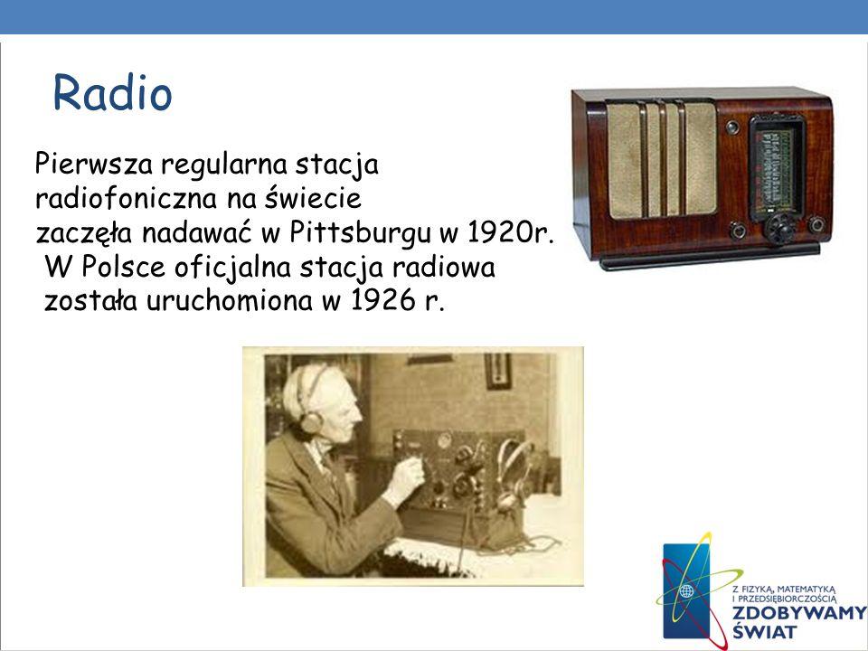 Telewizja W 1929 roku BBC rozpoczęła eksperymentalne nadawanie programu telewizyjnego W 1940 roku w USA rozpoczęto nadawać eksperymentalne transmisje telewizyjne w kolorze, w 1952 roku Telewizja Polska zaczęła regularnie nadawać programy telewizyjne.