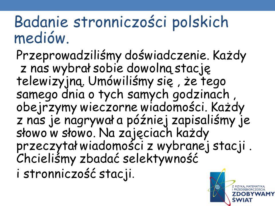 Badanie stronniczości polskich mediów.Przeprowadziliśmy doświadczenie.