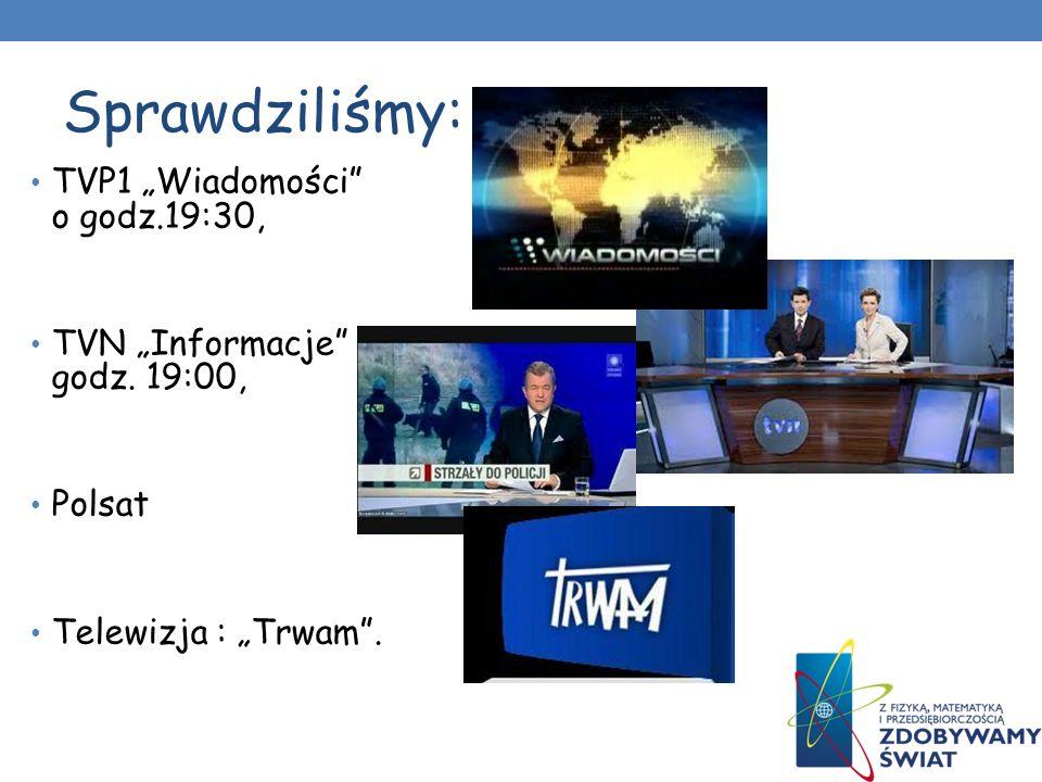 Sprawdziliśmy: TVP1 Wiadomości o godz.19:30, TVN Informacje godz. 19:00, Polsat Telewizja : Trwam.