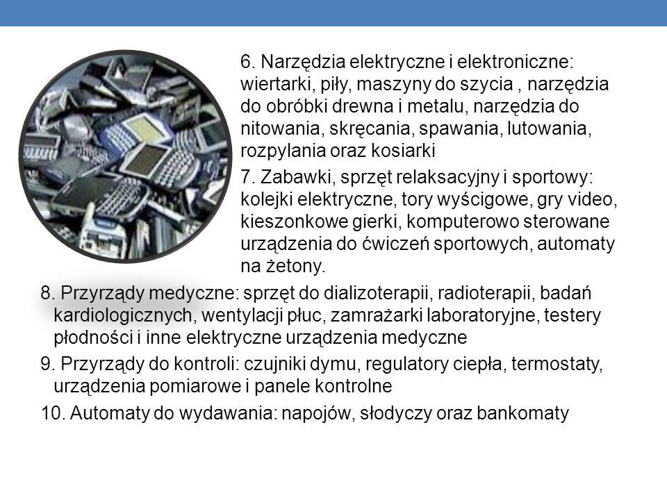 6. Narzędzia elektryczne i elektroniczne: wiertarki, piły, maszyny do szycia, narzędzia do obróbki drewna i metalu, narzędzia do nitowania, skręcania,