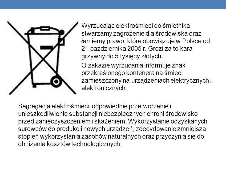 Wyrzucając elektrośmieci do śmietnika stwarzamy zagrożenie dla środowiska oraz łamiemy prawo, które obowiązuje w Polsce od 21 października 2005 r. Gro