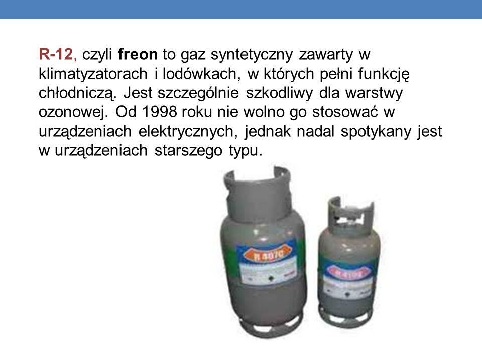 R-12, czyli freon to gaz syntetyczny zawarty w klimatyzatorach i lodówkach, w których pełni funkcję chłodniczą. Jest szczególnie szkodliwy dla warstwy