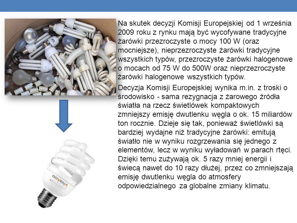 Na skutek decyzji Komisji Europejskiej od 1 września 2009 roku z rynku mają być wycofywane tradycyjne żarówki przezroczyste o mocy 100 W (oraz mocniej
