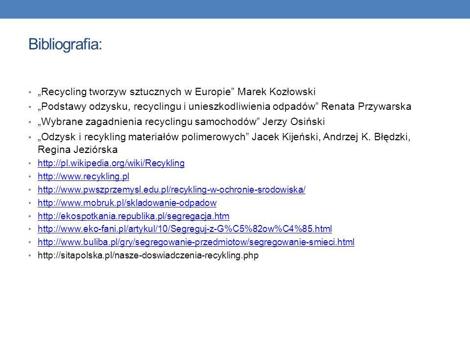 Bibliografia: Recycling tworzyw sztucznych w Europie Marek Kozłowski Podstawy odzysku, recyclingu i unieszkodliwienia odpadów Renata Przywarska Wybran