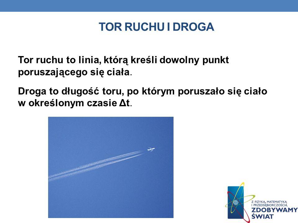 TOR RUCHU I DROGA Tor ruchu to linia, którą kreśli dowolny punkt poruszającego się ciała. Droga to długość toru, po którym poruszało się ciało w okreś