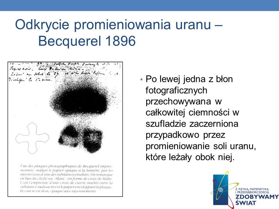 Odkrycie promieniowania uranu – Becquerel 1896 Po lewej jedna z błon fotograficznych przechowywana w całkowitej ciemności w szufladzie zaczerniona prz