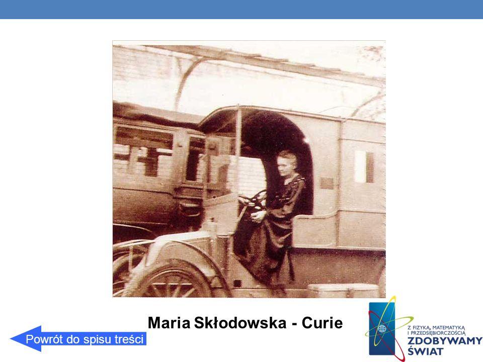 Maria Skłodowska - Curie Powrót do spisu treści