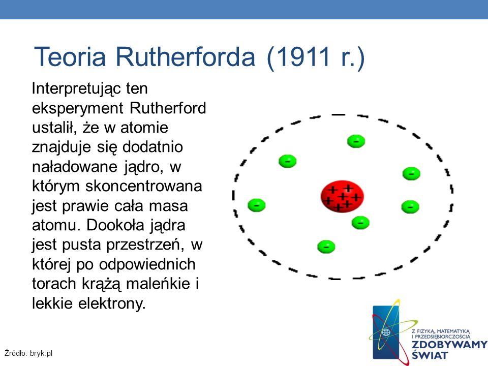 Teoria Rutherforda (1911 r.) Interpretując ten eksperyment Rutherford ustalił, że w atomie znajduje się dodatnio naładowane jądro, w którym skoncentro