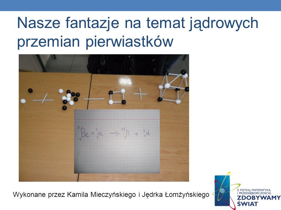 Nasze fantazje na temat jądrowych przemian pierwiastków Wykonane przez Kamila Mieczyńskiego i Jędrka Łomżyńskiego