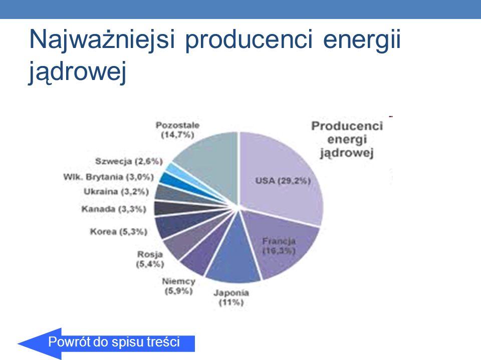 Najważniejsi producenci energii jądrowej Powrót do spisu treści
