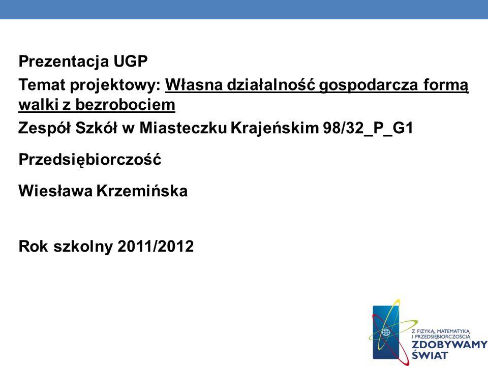 Prezentacja UGP Temat projektowy: Własna działalność gospodarcza formą walki z bezrobociem Zespół Szkół w Miasteczku Krajeńskim 98/32_P_G1 Przedsiębio