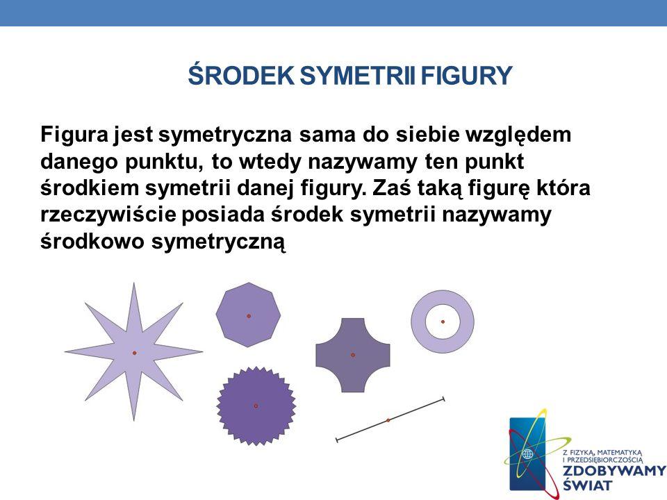 ŚRODEK SYMETRII FIGURY Figura jest symetryczna sama do siebie względem danego punktu, to wtedy nazywamy ten punkt środkiem symetrii danej figury. Zaś