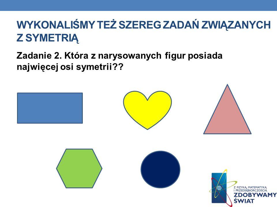 Zadanie 2. Która z narysowanych figur posiada najwięcej osi symetrii?? WYKONALIŚMY TEŻ SZEREG ZADAŃ ZWIĄZANYCH Z SYMETRIĄ
