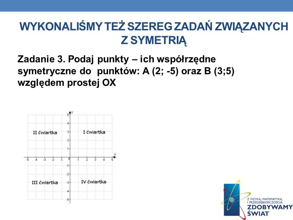 Zadanie 3. Podaj punkty – ich współrzędne symetryczne do punktów: A (2; -5) oraz B (3;5) względem prostej OX