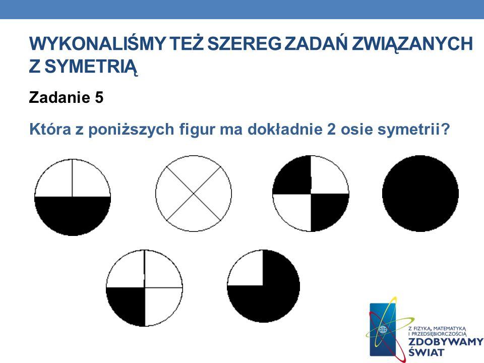 WYKONALIŚMY TEŻ SZEREG ZADAŃ ZWIĄZANYCH Z SYMETRIĄ Zadanie 5 Która z poniższych figur ma dokładnie 2 osie symetrii?