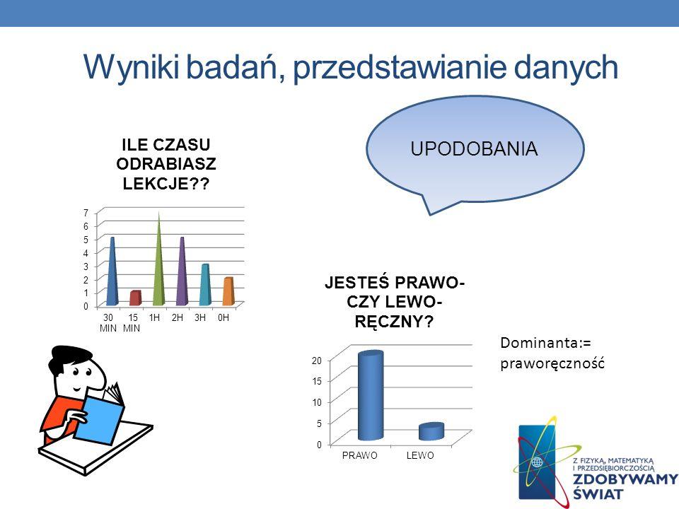 Wyniki badań, przedstawianie danych UPODOBANIA Dominanta:= praworęczność