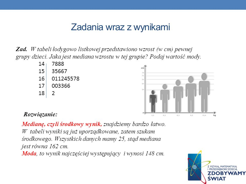 Rozwiązanie: Zad. W tabeli łodygowo listkowej przedstawiono wzrost (w cm) pewnej grupy dzieci. Jaka jest mediana wzrostu w tej grupie? Podaj wartość m