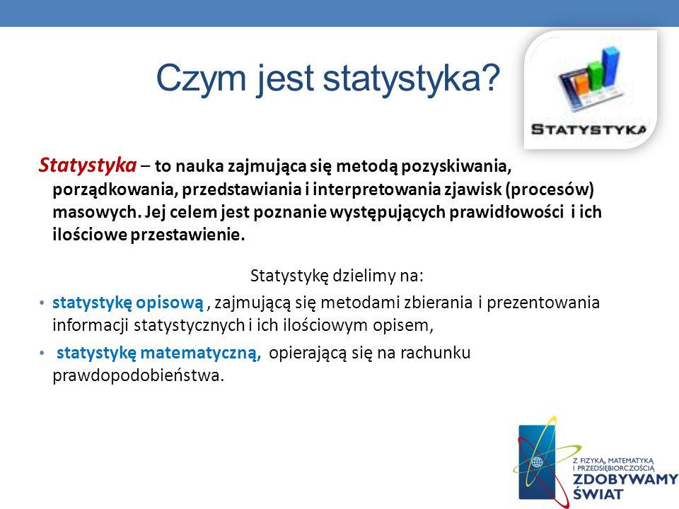 Czym jest statystyka? Statystyka – to nauka zajmująca się metodą pozyskiwania, porządkowania, przedstawiania i interpretowania zjawisk (procesów) maso