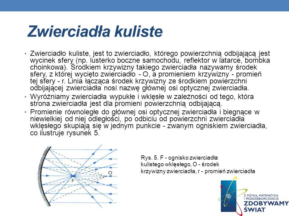 Zwierciadła kuliste Zwierciadło kuliste, jest to zwierciadło, którego powierzchnią odbijającą jest wycinek sfery (np. lusterko boczne samochodu, refle