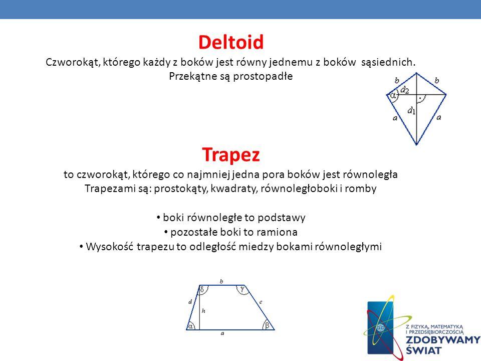 Deltoid Czworokąt, którego każdy z boków jest równy jednemu z boków sąsiednich. Przekątne są prostopadłe Trapez to czworokąt, którego co najmniej jedn