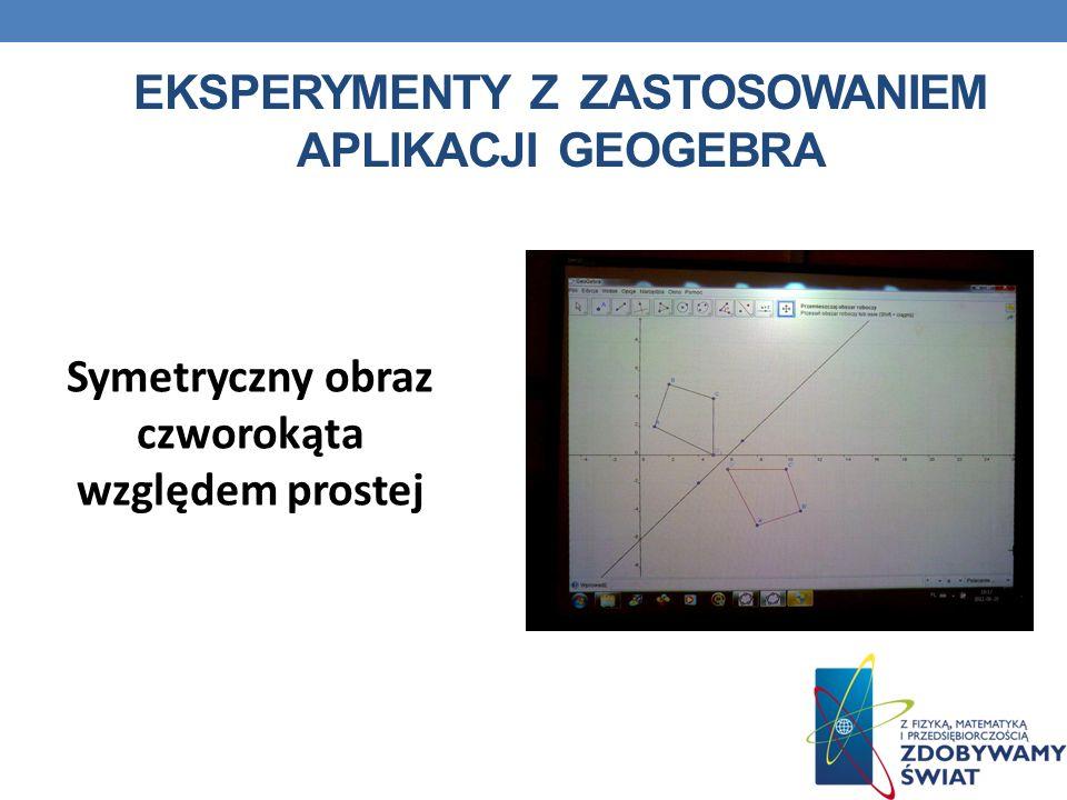 EKSPERYMENTY Z ZASTOSOWANIEM APLIKACJI GEOGEBRA Symetryczny obraz czworokąta względem prostej