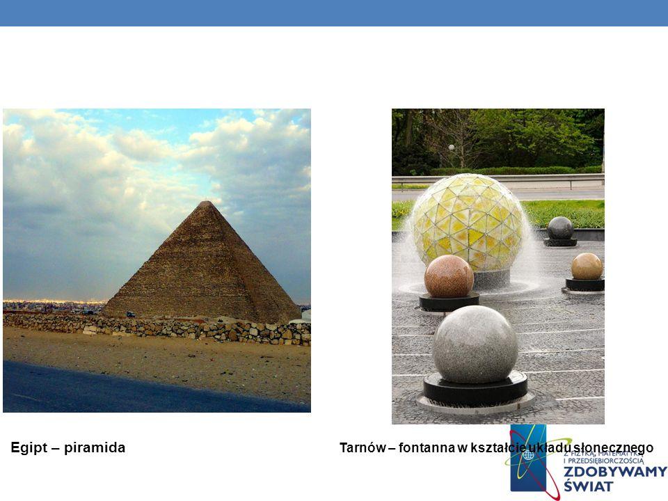 Egipt – piramida Tarnów – fontanna w kształcie układu słonecznego