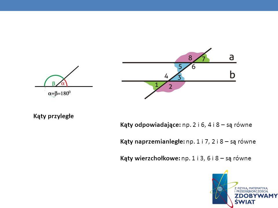 Kąty odpowiadające: np. 2 i 6, 4 i 8 – są równe Kąty naprzemianległe: np. 1 i 7, 2 i 8 – są równe Kąty wierzchołkowe: np. 1 i 3, 6 i 8 – są równe Kąty