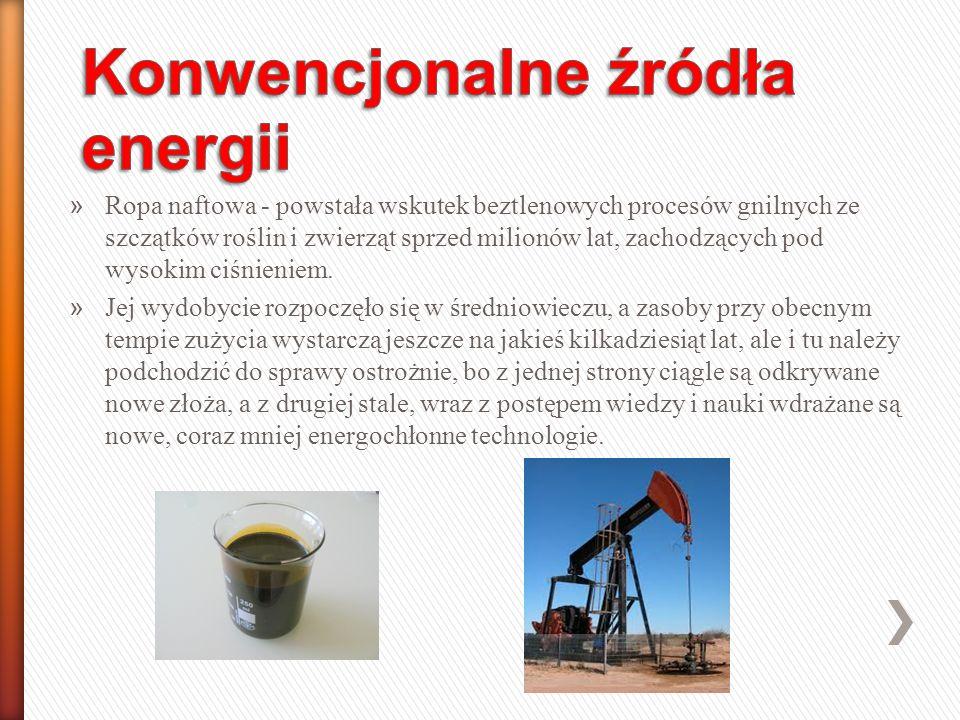 » Ropa naftowa - powstała wskutek beztlenowych procesów gnilnych ze szczątków roślin i zwierząt sprzed milionów lat, zachodzących pod wysokim ciśnieniem.