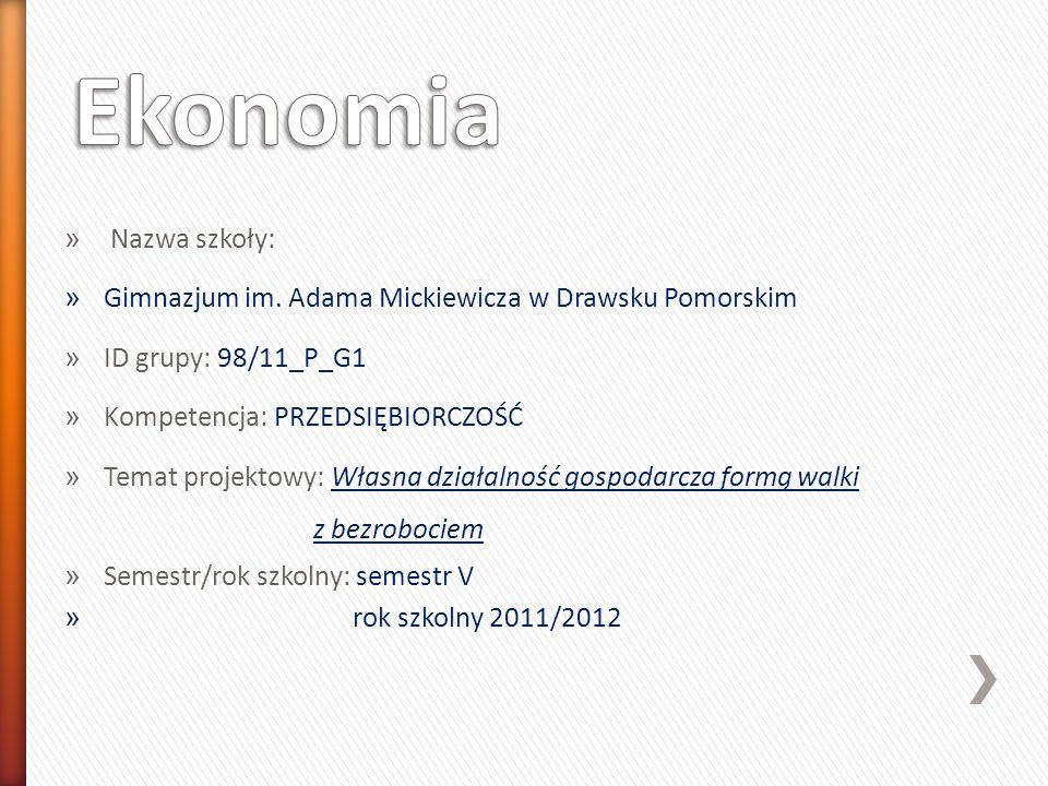 » Nazwa szkoły: » Gimnazjum im. Adama Mickiewicza w Drawsku Pomorskim » ID grupy: 98/11_P_G1 » Kompetencja: PRZEDSIĘBIORCZOŚĆ » Temat projektowy: Włas