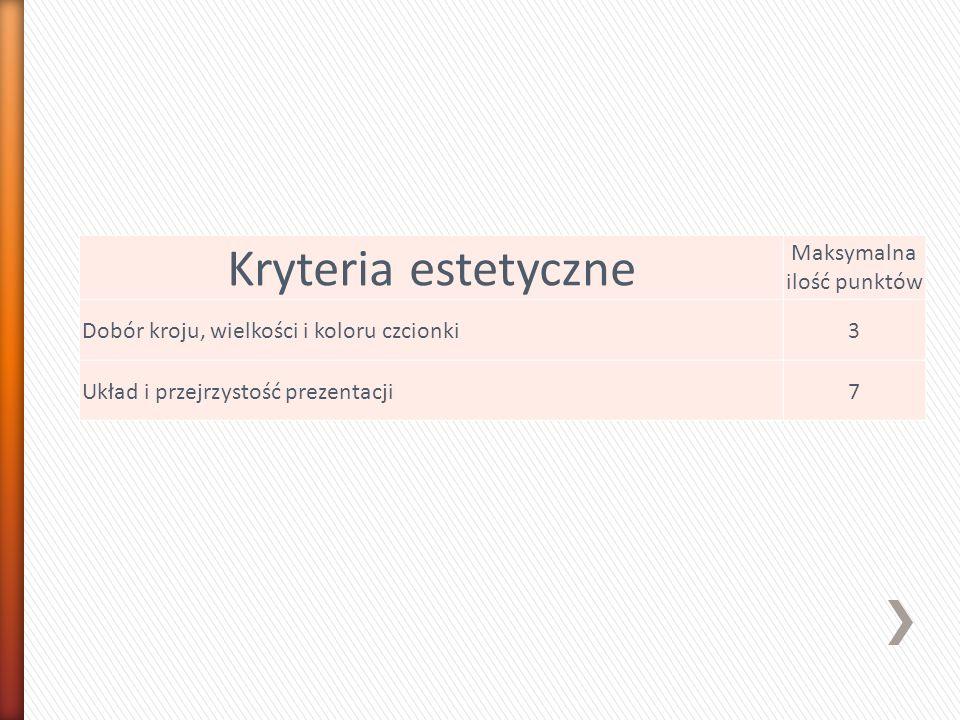 Kryteria estetyczne Maksymalna ilość punktów Dobór kroju, wielkości i koloru czcionki3 Układ i przejrzystość prezentacji7