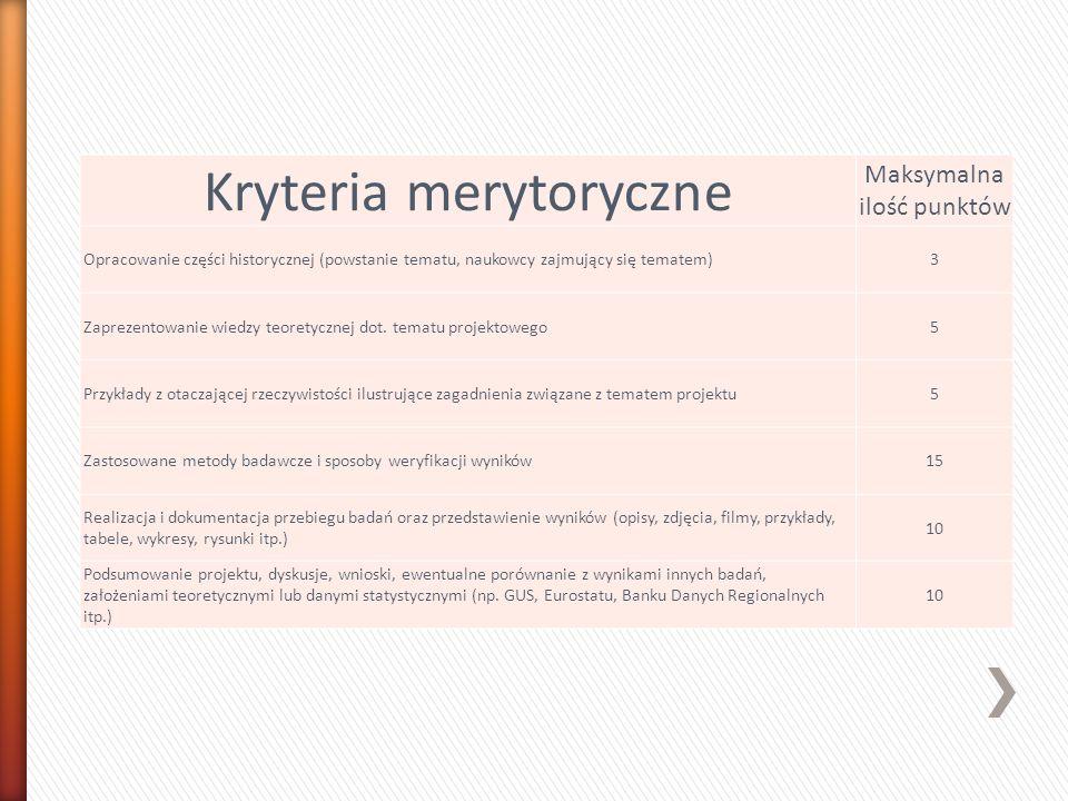 Kryteria merytoryczne Maksymalna ilość punktów Opracowanie części historycznej (powstanie tematu, naukowcy zajmujący się tematem)3 Zaprezentowanie wie