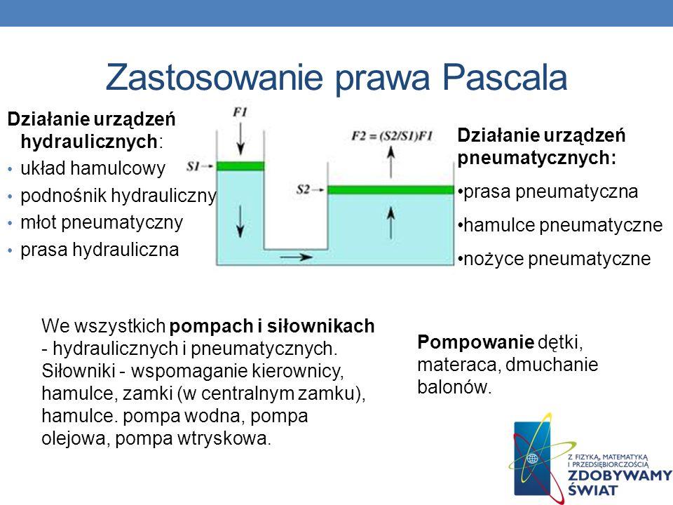 Zastosowanie prawa Pascala Pompowanie dętki, materaca, dmuchanie balonów. We wszystkich pompach i siłownikach - hydraulicznych i pneumatycznych. Siłow