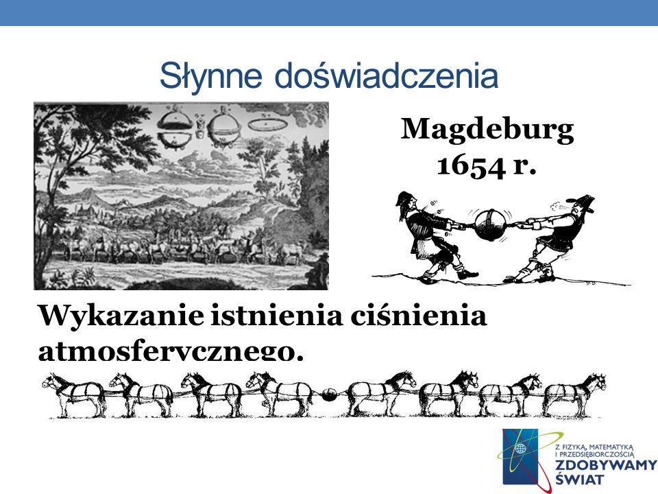 Magdeburg 1654 r. Wykazanie istnienia ciśnienia atmosferycznego.