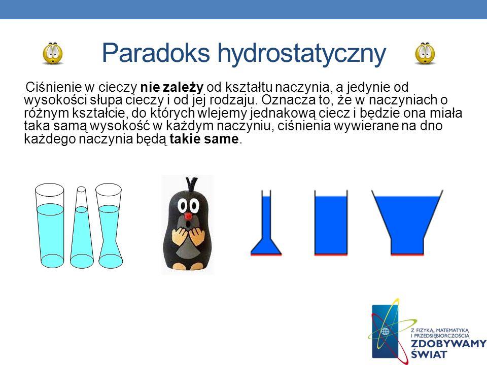 Paradoks hydrostatyczny Ciśnienie w cieczy nie zależy od kształtu naczynia, a jedynie od wysokości słupa cieczy i od jej rodzaju. Oznacza to, że w nac