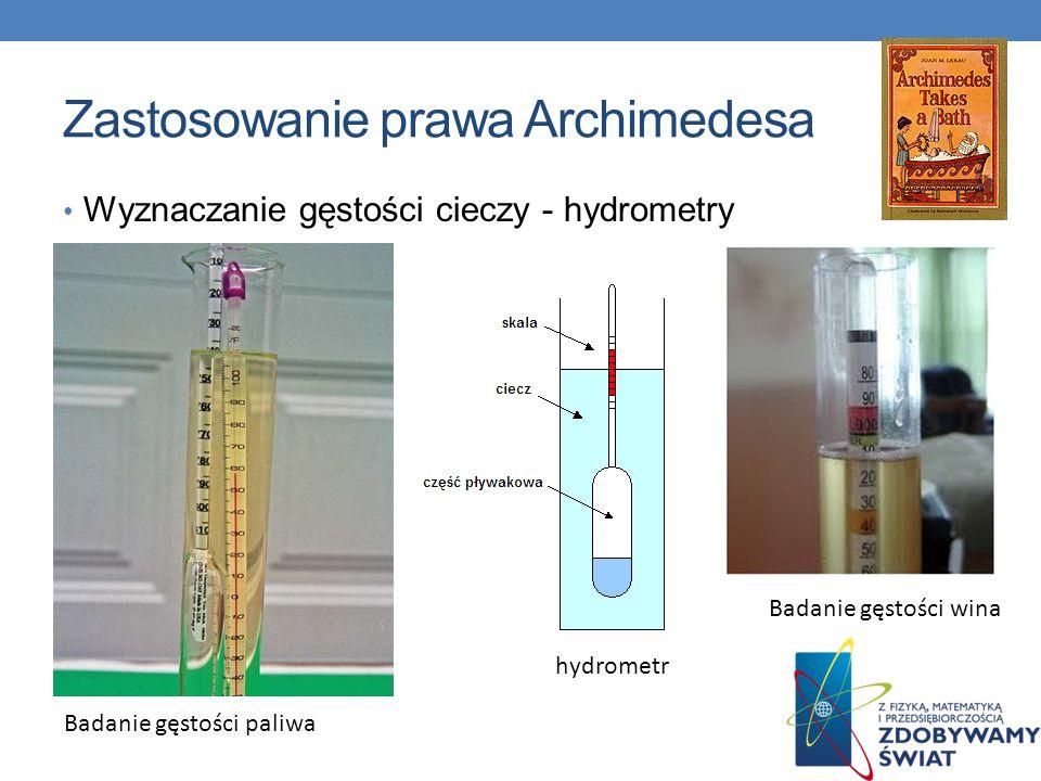 Zastosowanie prawa Archimedesa Wyznaczanie gęstości cieczy - hydrometry Badanie gęstości paliwa Badanie gęstości wina hydrometr