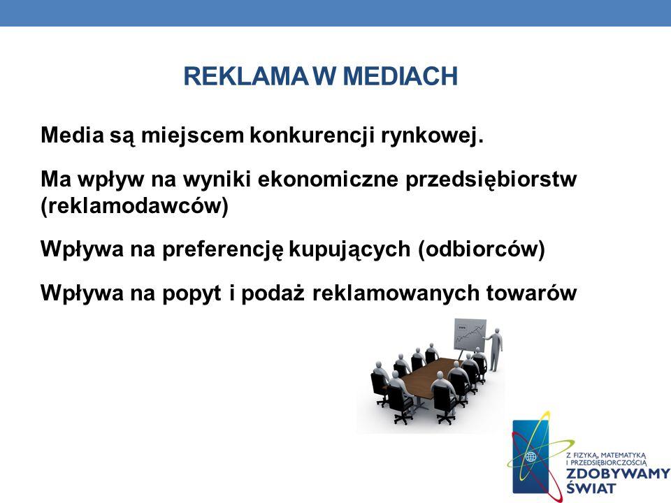 REKLAMA W MEDIACH Media są miejscem konkurencji rynkowej. Ma wpływ na wyniki ekonomiczne przedsiębiorstw (reklamodawców) Wpływa na preferencję kupując