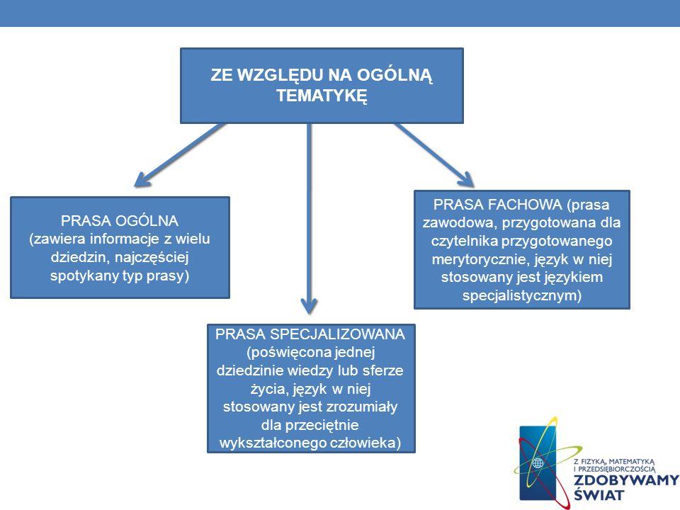 PRASA OGÓLNA (zawiera informacje z wielu dziedzin, najczęściej spotykany typ prasy) PRASA SPECJALIZOWANA (poświęcona jednej dziedzinie wiedzy lub sfer